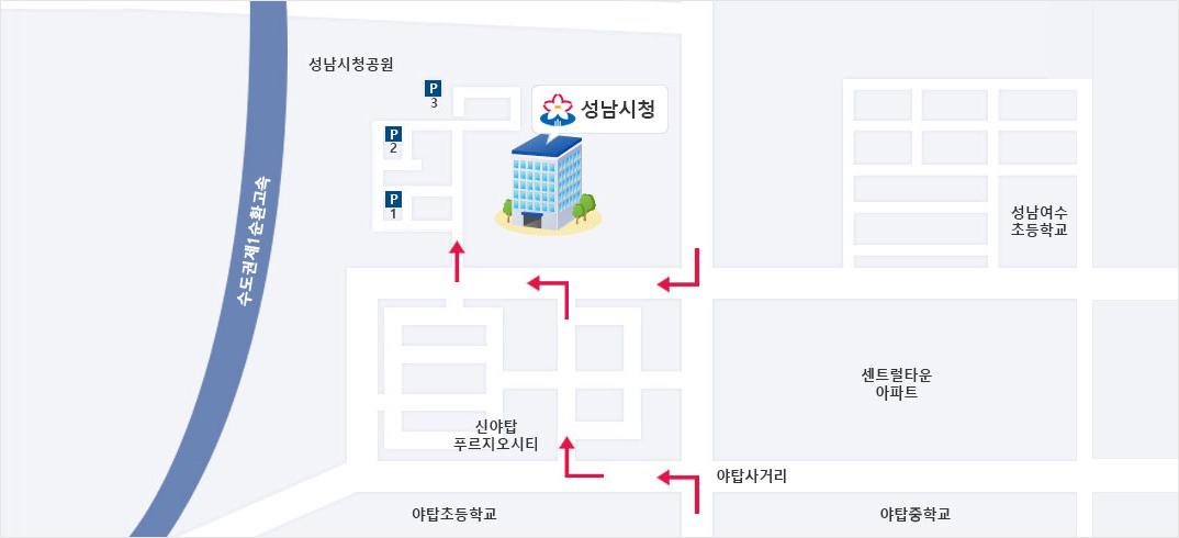 서울방면에서 오시는 경우 여수사거리 1km 후 성남대로997번길에서 우회전 후 약 400m 후 좌회전,광주/수원 방면에서 오시는 경우 야탑사거리에서 좌회전 후 양현로405번길로 우회전 후 성남대로997번길에서 좌회전 후 200m 후 좌회전